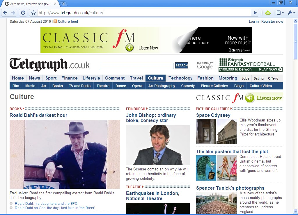 Classic FM advertising on the Telegraph website