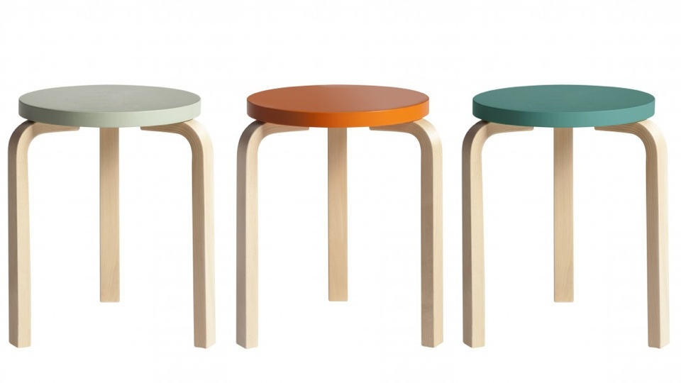 Three three legged stools