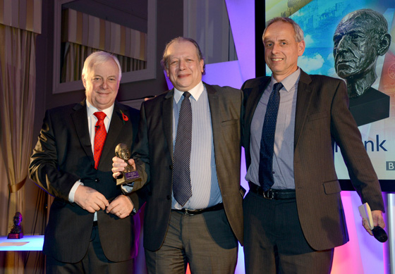 Gerald Jackson (centre) receives his Gillard award from BBC Trust Chairman, Lord Patten (left) and David Holdsworth, Controller of BBC English Regions