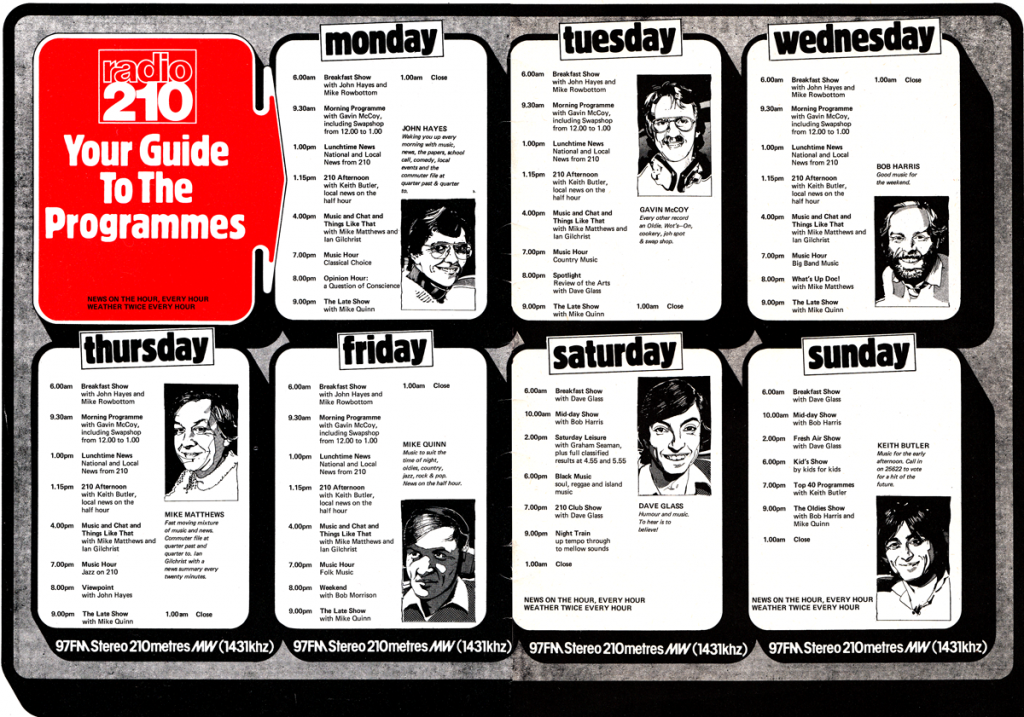Radio 210 schedule from 1981