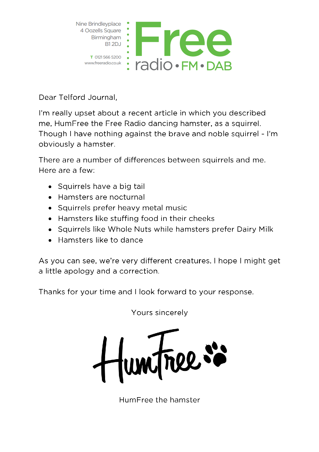 HumFree's official letter to the press.